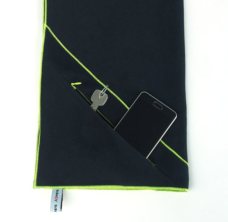 Dr. Bacty Gym Fitness Towel with Pocket, M, Black