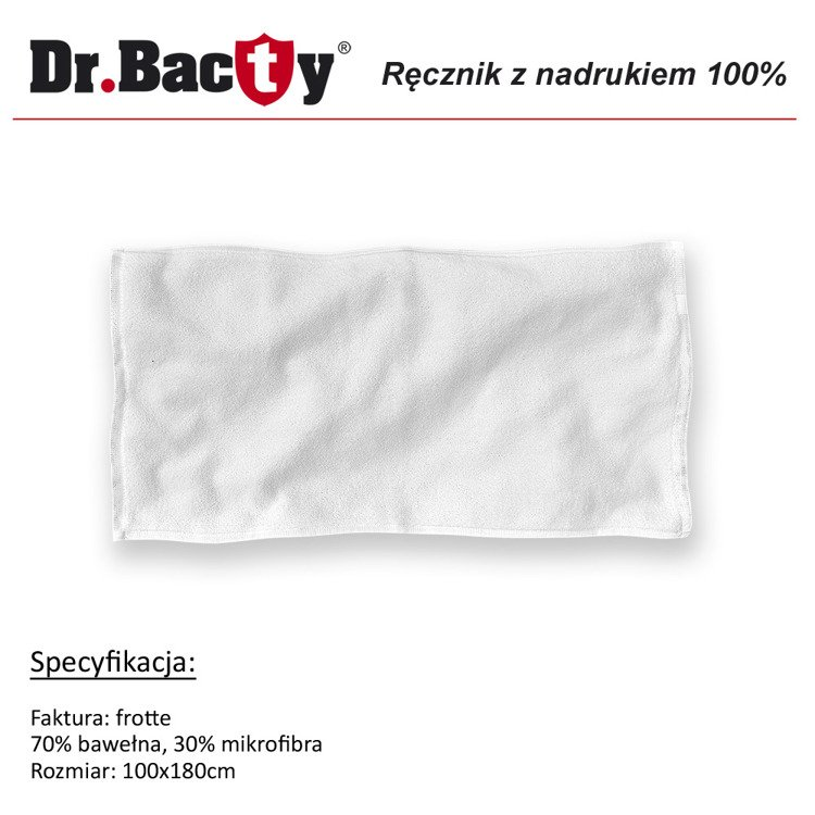 Duży ręcznik reklamowy 100x180 Dr. Bacty