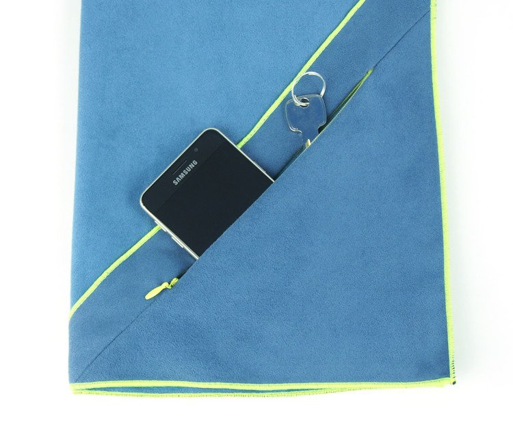 Dr. Bacty Quick Dry Towel with Pocket, M, Dark Blue