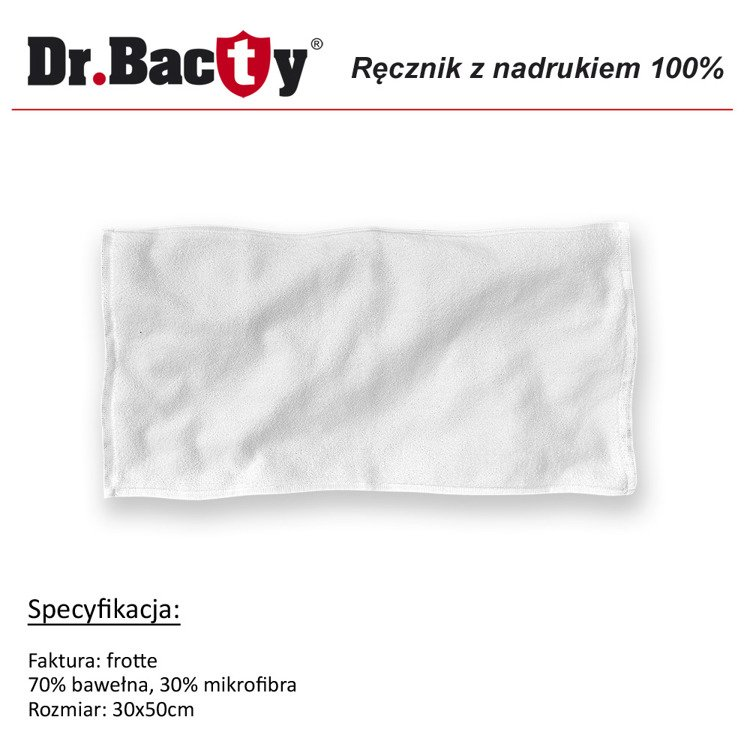 Ręcznik reklamowy frotte Dr. Bacty